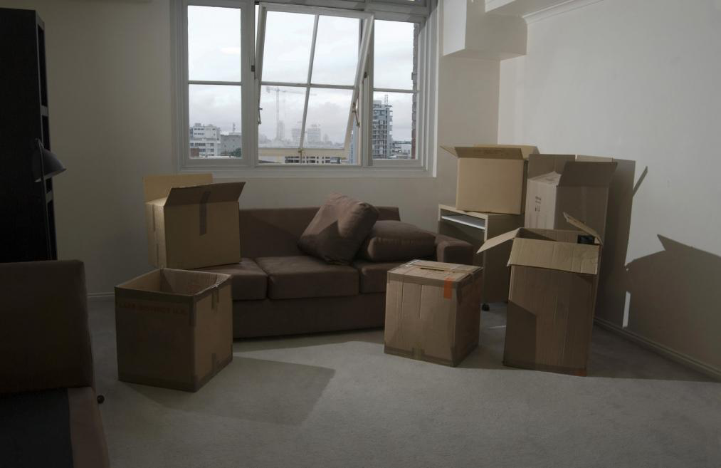 packced boxes in a room