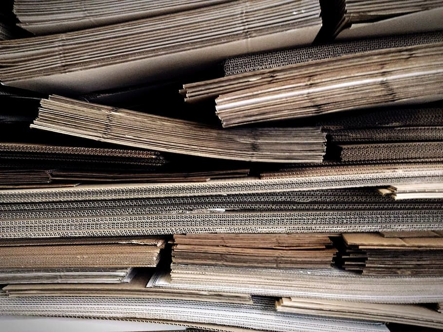 Stack of folded cardboard boxes.