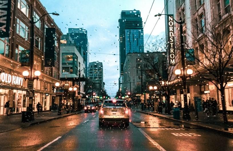 A rain-splattered lens during a shot in Seattle