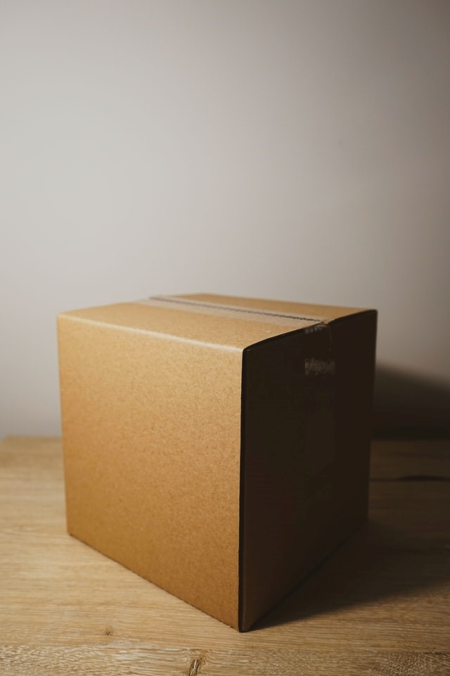 A moving box without a label