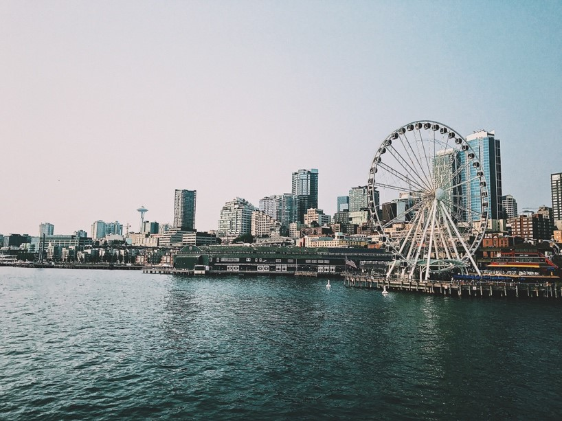 Seattle skyline with the surrounding water bodies