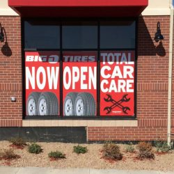 Commercial window decals for tire company - Action Signs