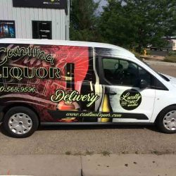 Vehicle wrap for a liquor delivery truck - Action Signs