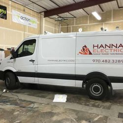 Commercial van with vehicle wrap with business information - Action Signs