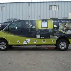 Commercial La-Z Boy van with vehicle wrap - Action Signs