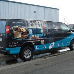 Unique vehicle wrap design for commercial La-Z Boy van - Action Signs