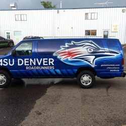 Blue vehicle wrap design with MSU Denver Roadrunners logo - Action Signs