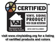 A badge showing Adept is a certified vinyl siding installer.