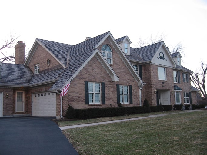 A roof on a residential home in La Grange, IL.