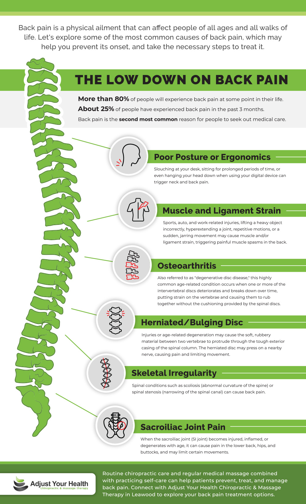 Infograph showing back pain