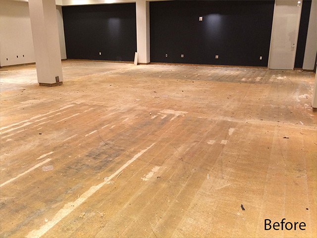 Before epoxy flooring by Aetna Integrated Services