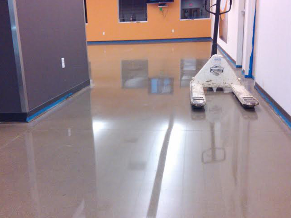 Epoxy floor coating in a hallway by Columbus flooring contractors