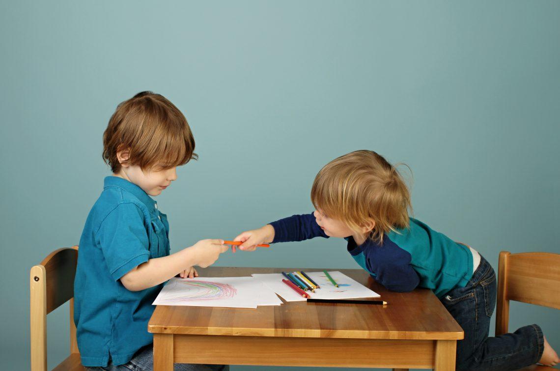 children writing book