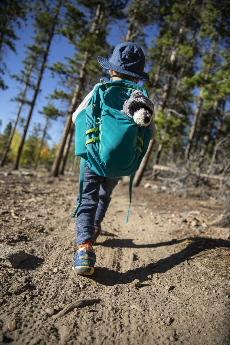 Toddler hiking with backpack.