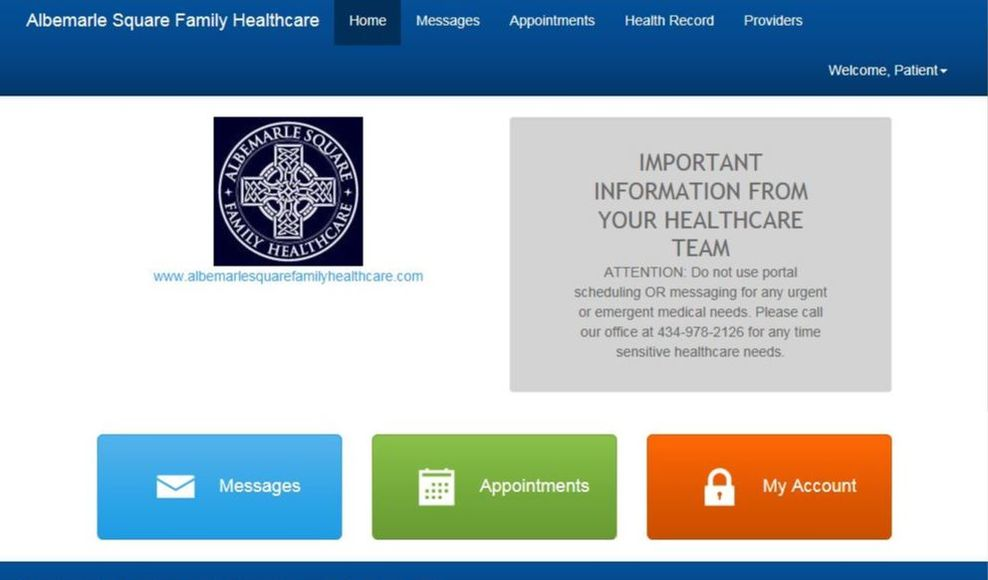 e-MDs Patient Centered Health Care Login Pic