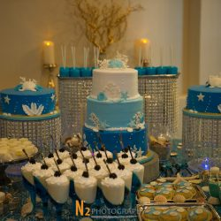 Blue and white wedding cake at our wedding venue - Alegria Gardens