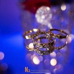 A close-up shot featuring three different rings at Alegria Gardens Reception Hall in Houston.