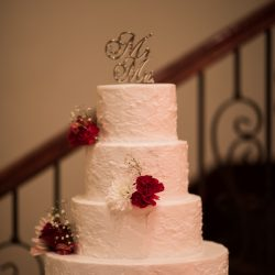 White cake with red roses at our wedding venue - Alegria Gardens
