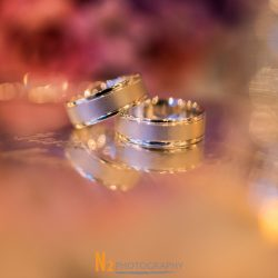 Photograph of two wedding bands at our wedding venue - Alegria Gardens