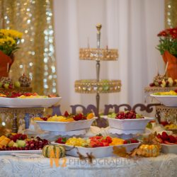Strawberries, pineapple, kiwi, and other assorted fruit for a wedding reception at Alegria Gardens Reception Hall in Houston.