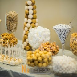 White and gold dessert display at our reception hall - Alegria Gardens