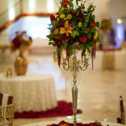 Floral arrangement with dance floor at our reception hall - Alegria Gardens