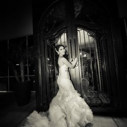 Photograph of the bride in black and white at our wedding venue - Alegria Gardens