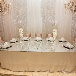 Head table with glass top at our reception hall - Alegria Gardens