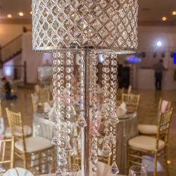Chandelier type centerpiece at our reception hall - Alegria Gardens