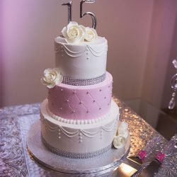 Three tiered cake at our party hall - Alegria Gardens
