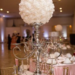 Circular floral centerpiece at our wedding venue - Alegria Gardens