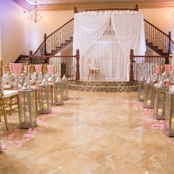 Ceremony area with pink decor at our wedding venue - Alegria Gardens