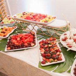 Fruit and marshmallows on the fondue table at our reception hall - Alegria Gardens