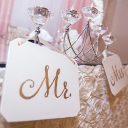 Mr. and Mrs. signs at our wedding hall - Alegria Gardens