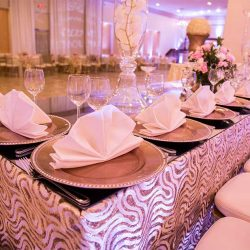 Beautifully decorated table at our wedding venue - Alegria Gardens