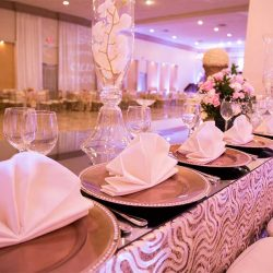 Plates and folded napkins at our wedding venue - Alegria Gardens