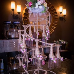 Champagne glass display at our reception hall - Alegria Gardens