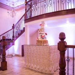 Wedding cake display at our reception hall - Alegria Gardens