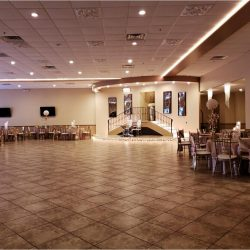 A photograph of the spacious dining area with tables and chairs in the background at Alegria Gardens Reception Hall at Stacy in Houston.