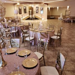 A picture featuring several decorated dining tables inside of Alegria Gardens Reception Hall at Stacy in Houston.