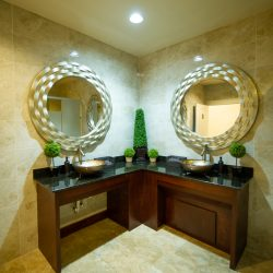 A picture taken inside of the bathroom at Alegria Gardens at 529 in Houston featuring two beautiful round mirrors, basin sinks, and five small shrubs.