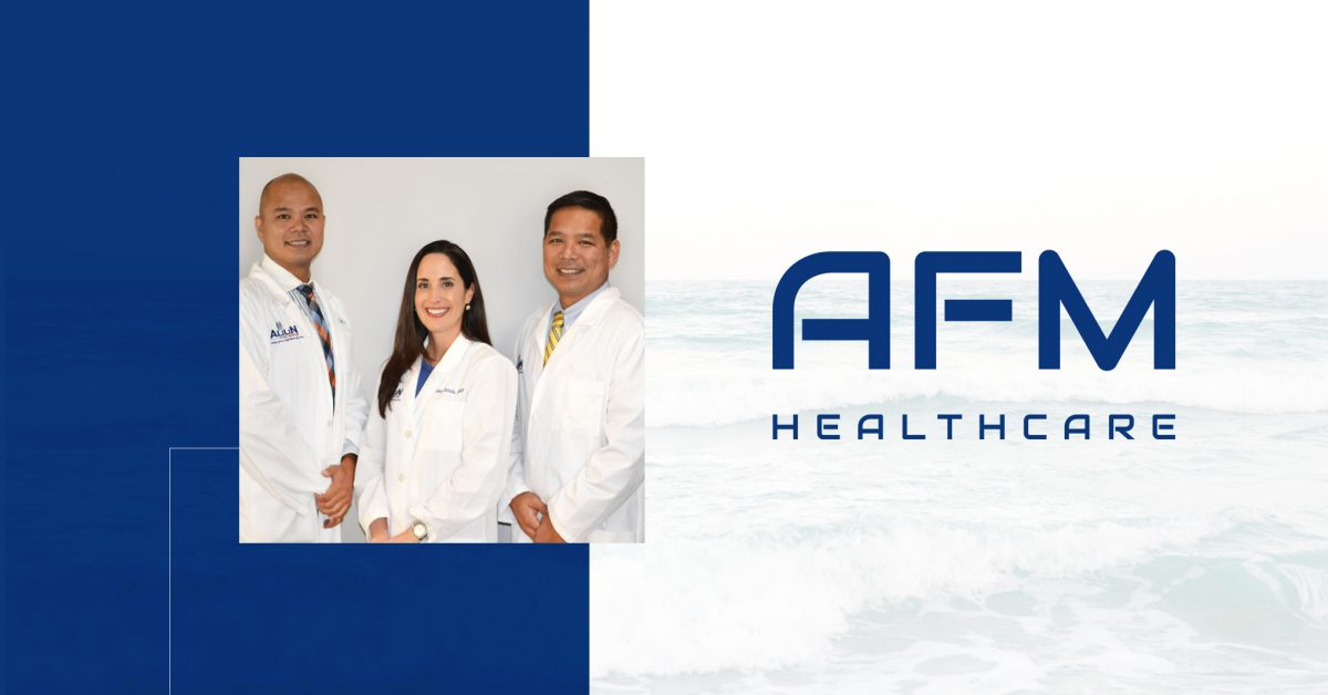 A banner including the AFM logo, a washed out picture of waves and the main physicians in at the office.