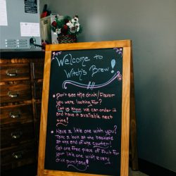 Chalkboard with Welcome sign on it