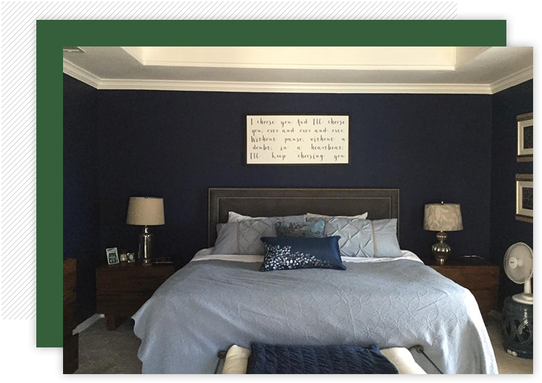Beautiful master bedroom with royal blue walls