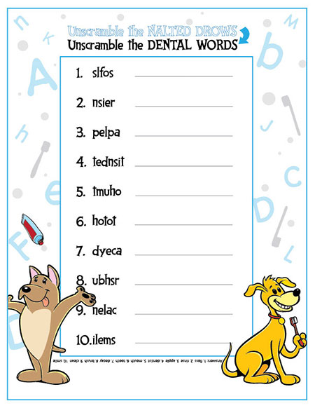 Word Scramble activity sheet