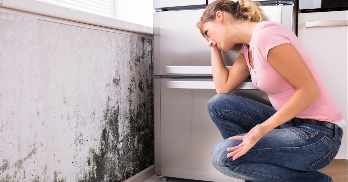 Woman Stressed About Mold on Wall