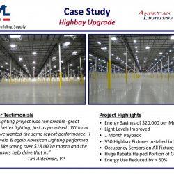 Large Warehouse Lighting Retrofit energy efficient with ROI