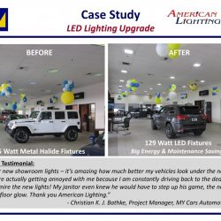 Car dealership showroom lighting