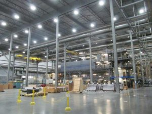 Warehouse Lighting after retrofit installation of all new LED's