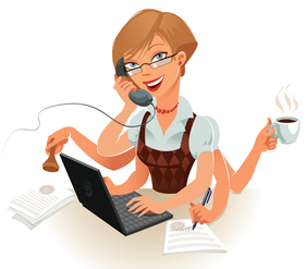 Woman busy at work and getting everything done